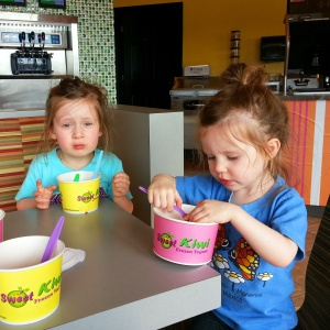 My two grocery shopping dates enjoying their froyo reward.