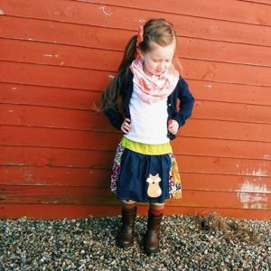 Fox skirt, leg warmers and infinity scarf by R&T