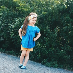 These gold polka dot scalloped shorts and the chambray top are both from R&T