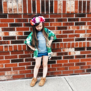 Kimono, chambray bubble shorts and flower crown are all by R&T